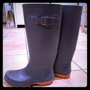 Gray and hot pink rain boots